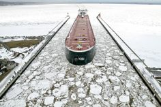 The American Integrity enters the Duluth ship canal after ice on Lake Superior  Clint Austin, Associated Press - Ap