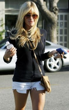 white cut off shorts, plain black top, cross shoulder purse, sunglasses. my ideal outfit.