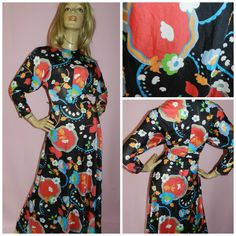 Vintage 70s BOLD PSYCHEDELIC Multicoloured KITSCH Flower Power print maxi dress 12 1970s Kooky Unique by HoneychildLoves on Etsy
