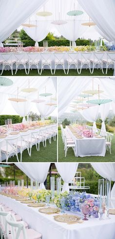 Beautiful pastel ombre bridal shower with suspending umbrellas // Ombre wedding decor ideas {Facebook and Instagram: The Wedding Scoop}
