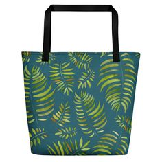 Weekend Beach Bag Tropical Leaves Tote by JaanaHalmeDesign on Etsy Designer Totes, Beach Blanket, Tropical Leaves, Vibrant Colors, Handmade Items, Reusable Tote Bags, Canvas, Fabric, Cotton