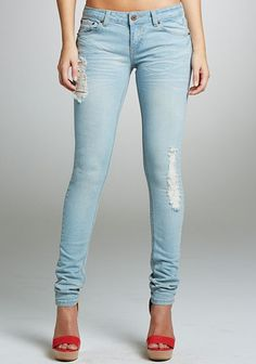 Royal Blue Light Destructed Skinny Jean in {productContextTitle} from {brandTitle} on shop.CatalogSpree.com, your personal digital mall.