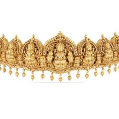 Overstate your traditional look with this gold oddiyanam/vadanam enlightened with the sculpt of goddess lakshmi and peacock. Also, it is beautified with kemp stones and hung with golden balls. This does not include the back belt, please contact cus Antique Jewellery Designs, Gold Jewellery Design, Antique Jewelry, Gold Jewelry, Vaddanam Designs, Waist Jewelry, Gold Price, Short Necklace, Temple Jewellery