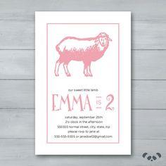 Sheep Birthday Party Invitation    Sheep by PandafunkCreations