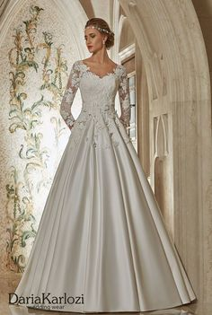 Ivory lace satin wedding dress ball gown A-Line long sleeve