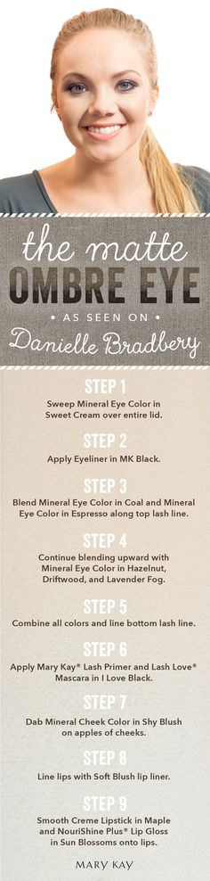 Feeling a little adventurous? Go for a fun and flirty matte eye. Follow this tutorial from country star Danielle Bradbery's red carpet beauty look for the ACMs! | Mary Kay