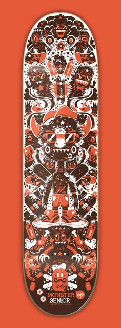 Monster Senior Skateboards company | illustration by New Fren, via Behance