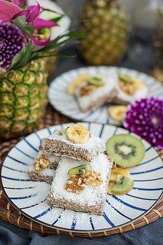 . AKZEPTIEREN Austrian Desserts, Banana Bars, Aloha Party, Banana Coconut, Strudel, Vegan Gluten Free, Blueberry, Pineapple, Baking