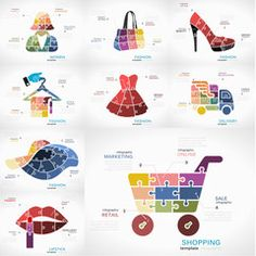 Shopping infographic pack with Fashion, Women, Delivery and Lipstick puzzle illustrations