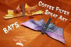"Coffee Filter Clothespin Bats using Marker spray art:  Simple, yet fun...can have clothes pins ""PRESPRAY painted"" ahead of time to omit painting"