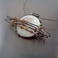 Saturn - náhrdelník mušle,achát,avanturín,aragonit