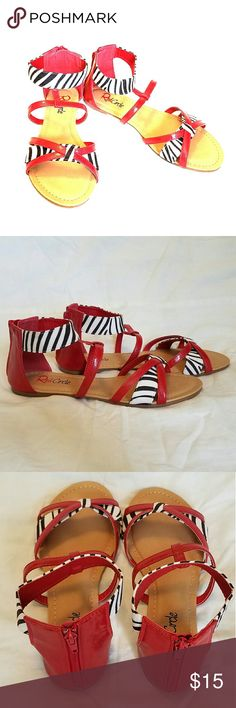 Red Zebra Accented Sandles Red Sandals with Zebra accent, zipper back, never worn Red circle Shoes Sandals