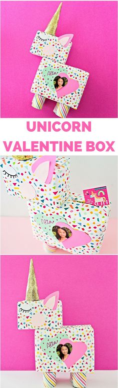 DIY Unicorn Valentine Card Box. So cute to personalize with kids photo. Printable template. #valentinecrafts