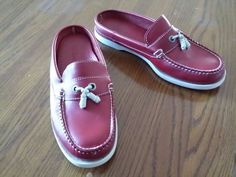LL Bean Women's Red Leather Moccasins Loafer Shoes Slides Size 6 ½ M  #LLBean #Slides #Casual
