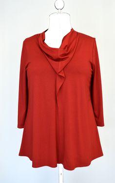 "Oberteile - Shirt ""Evelyn"" rot,blau,Longsleeve,Wasserfall,XL - ein Designerstück von FriederikeZobel-ligneXL bei DaWanda"
