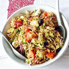 Greek salad with bulgur wheat Recipe | delicious. Magazine free recipes