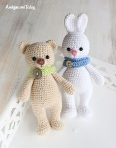 Cuddle Me Bunny and Bear - free crochet patterns