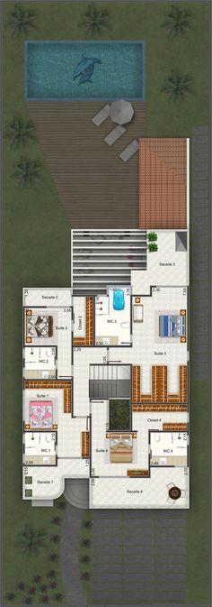 Planta de Sobrado - 4 Quartos - 326.61m² - Monte Sua Casa: