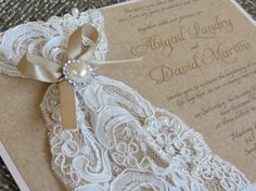 ABIGAIL Lace & Burlap Wedding Invitation by peachykeenevents
