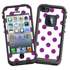 Purple Polka Dot on White #Skin  for the #lifeproof #iphone5 and #iphone5s #Case by #Skinzy.com