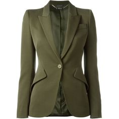 Alexander McQueen one button blazer ($1,680) ❤ liked on Polyvore featuring outerwear, jackets, blazers, giacche, green, alexander mcqueen, one button jacket, green jacket, long sleeve blazer and blazer jacket