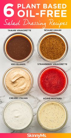 There s a reason these dressings are so popular right now 6 Plant Based Oil-Free Salad Dressing Recipes plantbased vegan healthyrecipes cleaneating # Vegan Sauces, Vegan Foods, Vegan Dishes, Oil Free Salad Dressing, Salad Dressing Recipes, Vegan Ranch Dressing, Calorie Free Dressing Recipe, Fat Free Italian Dressing Recipe, Vegan Recipes