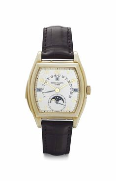 Patek Philippe. An Extremely Fine and Rare 18k Gold Tonneau-shaped Automatic Minute Repeating Perpetual Calendar Wristwatch with Moon Phases, Retrograde Date, and Breguet Numerals #patekphilippe #christieswatches