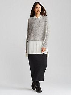 Shop the System from EILEEN FISHER. Mix and match women's basics to create sophisticated outfits. Minimalist Fashion Women, Minimal Fashion, Minimalist Style, Sophisticated Outfits, Elegant Outfit, Comfortable Outfits, Stylish Outfits, Tunic Dress With Leggings, Autumn Winter Fashion