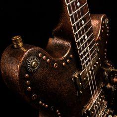 Steampunk Semihollow guitar with a Tonerider pickup Steampunk Guitar, Custom Guitars, Cool Guitar, Dieselpunk, Steampunk Fashion, Music Instruments, Steam Punk, Electric, Guitars