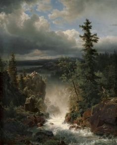 "Andreas Achenbach (German, ""Wildbach landscape with a creek"" Oil on canvas, × cm Private collection Landscape Art, Landscape Paintings, Vintage Landscape, Wooded Landscaping, Hudson River School, Art Japonais, Paintings I Love, Oil Paintings, Great Artists"