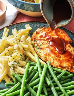 Carolina Barbecue Chicken with Quick Stovetop Mac 'n' Cheese and Green Beans | More quick and easy bbq chicken dinner recipes on hellofresh.com