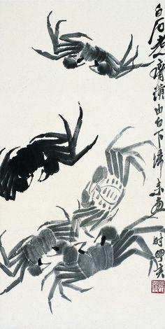 Crabs, ink painting by Qi Baishi - Crab Painting, Sumi E Painting, China Painting, Japanese Painting, Japanese Art, Tinta China, Art Japonais, Japanese Calligraphy, China Art