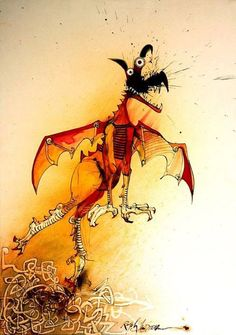 Ralph Steadman. His repugnant art graced Rolling Stone and Hunter S. Thompson work, now he graces the New Yorker and is regarded as avant-garde. His splattery and disjointed style revealed inner vileness roiling to a surface, but he also did some trippy Alice in Wonderland illustrations, and a series of truly neat bird illustrations.