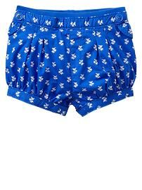 Pull-on printed bubble shorts