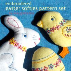 Embroidered Easter Softies patterns set by maggierama on Etsy, $9.00