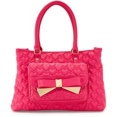 Betsey Johnson Be Mine Forever East-West Tote Bag ($74) ❤ liked on Polyvore featuring bags, handbags, tote bags, fuschia, zip tote bag, pink purse, zippered tote bag, pink tote bag and tote purse