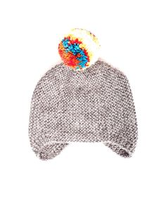 Grey Multi-Colored Pom Pom Hat — Cabbages & Kings NY