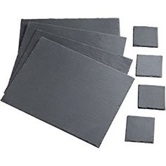 VonShef 8 Piece Natural Slate Set of 4 x Placemats and 4 x Coasters