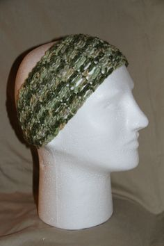 Crochet Unisex Teen or Adult headband earwarmer fits most camo green white  #homemade #earwamerheadband #pmscrafts74 #smokefree