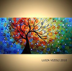 SEASONS Original Modern Abstract Whimsical Fantasy Landscape Tree Oil Painting on Large Canvas Dimensions: 72x36x1.5 made on Genie Collapsible Canvas , ready to reassembled and ready to hang Medium: oil,varnish on gallery wrapped cotton canvas with the sides painted Original Recreation