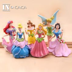 6pcs fairy miniature statuette the bulk mini princess doll classic toys for girl kids christmas gift movie anime action figures