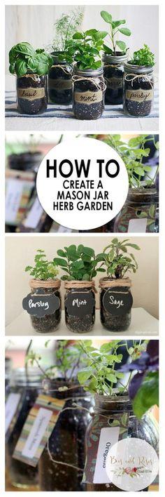 How to Create a Mason Jar Herb Garden| Mason Jar Herb Garden, Herb Garden Projects, Mason Jar, Mason Jar 101, Herb Garden, Make Your Own Herb Garden, Indoor Gardening, TIps and Tricks, Popular Pin