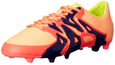 adidas Performance Women's X 15.3 FG/AG W Soccer Cleat,Pink/Yellow/Midnight Indigo Blue,5 M US. Synthetic upper is ultra thin and soft for close to the ball touch. Reinforced cage for stability where players need it most. Tongue-less design provides a more responsive fit. Traditional low cut boot. New hybrid outsole is versatile for acceleration on both firm, natural surfaces and artificial grass.
