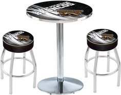 Western Michigan Broncos D2 Chrome Pub Table Set.  Available in two table widths. Visit SportsFansPlus.com for Details.