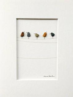 Arte de canto pájaros en un alambre 8 por 10 PebbleArt por