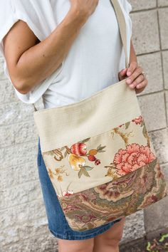 41862200696f Tan Green Melon Floral Large Tote Bag from Upcycled Recycled Repurposed  Fabric Samples and Belt for