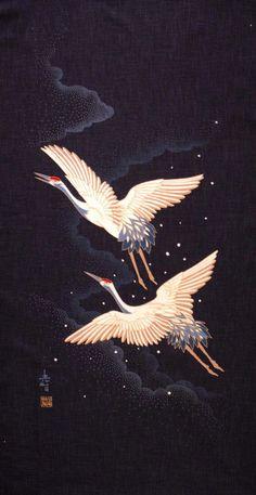 i love Cranes, symbolizing longevity as they're fabled to live for 1000 years & id like to live forever :-) japanese fabric Japanese Artwork, Japanese Prints, Japanese Fabric, Chinese Painting, Chinese Art, Image Deco, Japanese Crane, Japon Illustration, Botanical Illustration