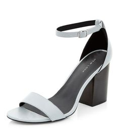 Grey Ankle Strap Block Heels
