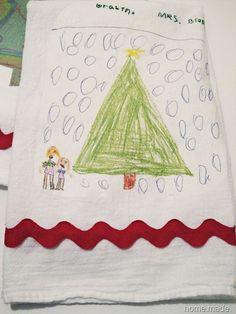 Kid's artwork printed on tea towels - diy