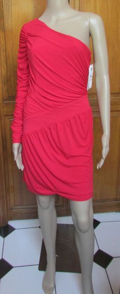 Laundry One Long Shoulder Melon Mini Dress NWT Sz 6 #Laundry #OneShoulder #Clubwear